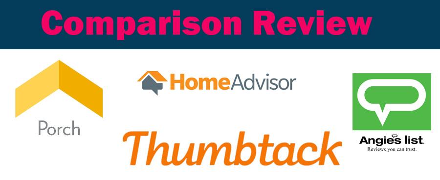 Comparison review of HomeAdvisor vs Angie's List vs Porch vs
